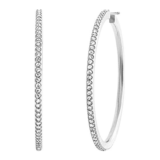 Mestergull Love Band Creol øreringer i 18 K Hvitt gull med 160 diamanter totalt 1,60 ct. TwVs Ø:38mm LYNGGAARD Love Ørepynt