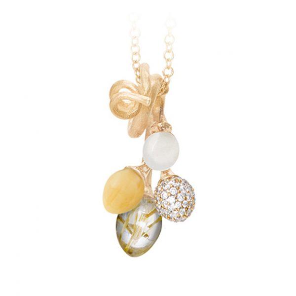 Mestergull Vedheng klase Lotus i 18kt. gult gull med rutilkvarts, hvit månesten, citrin og en pavéknopp med 67 diamanter LYNGGAARD Lotus Anheng