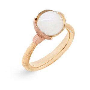 Mestergull Ring Lotus str. 1 i 18 K Gult gull med to blad i rosé gull - Hvit månesten LYNGGAARD Lotus Ring