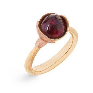 Mestergull Ring Lotus str. 1 i 18 K Gult gull med to blad i rosé gull - Rød turmalin LYNGGAARD Lotus Ring