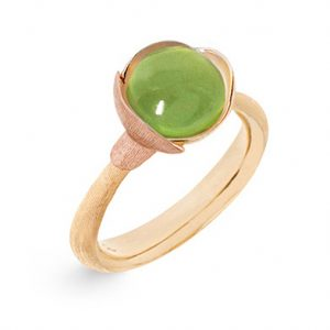 Mestergull Ring Lotus str. 1 i 18 K Gult gull med to blad i rosé gull - Peridot LYNGGAARD Lotus Ring
