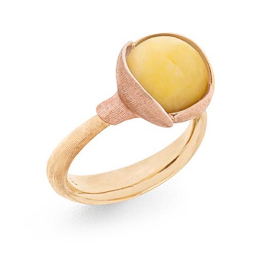 Mestergull Ring Lotus str. 2 i 18 K Gult gull med to blad i rosé gull - Rav LYNGGAARD Lotus Ring