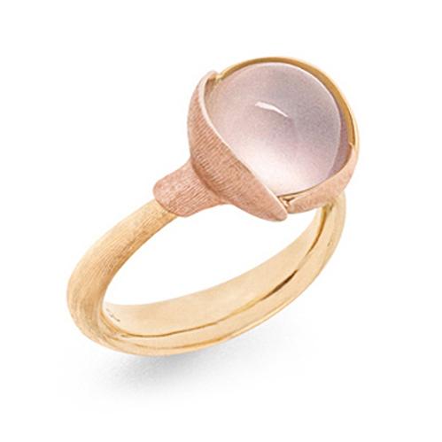 Mestergull Ring Lotus str. 2 i 18 K Gult gull med to blad i rosé gull - Rosenkvarts LYNGGAARD Lotus Ring