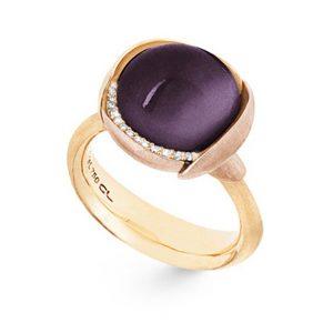Mestergull Ring Lotus str. 3 i 18 K Gult gull med to blad i rosé gull -13 diamanter totalt 0,05 ct. TwVs - Amethyst LYNGGAARD Lotus Ring