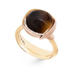 Mestergull Ring Lotus str. 3 i 18 K Gult gull med to blad i rosé gull -13 diamanter totalt 0,05 ct. TwVs - Røkkvarts LYNGGAARD Lotus Ring