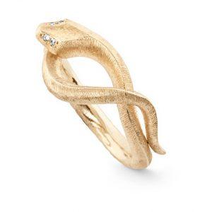 Mestergull Snakes ring liten i 18 K Gult gull med 4 diamanter totalt 0,02 ct. TwVs LYNGGAARD Snakes Ring