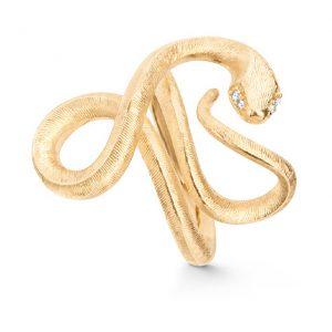 Mestergull Snakes ring stor i 18 K Gult gull med 4 diamanter totalt 0,02 ct. TwVs LYNGGAARD Snakes Ring
