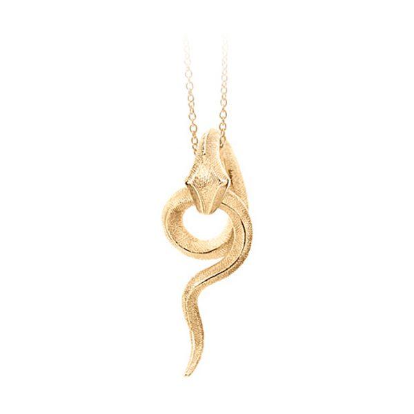 Mestergull Snakes anheng lite i 18 K Gult gull med 4 diamanter totalt 0,02 ct. TwVs inkl. Grønn designsnor LYNGGAARD Snakes Anheng