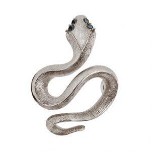 Mestergull Snakes Sweet Spot i 18 K urhodinert Hvitt gull med 4 sorte diamanter totalt 0,04 ct. TwVs LYNGGAARD Sweet Spot Charm