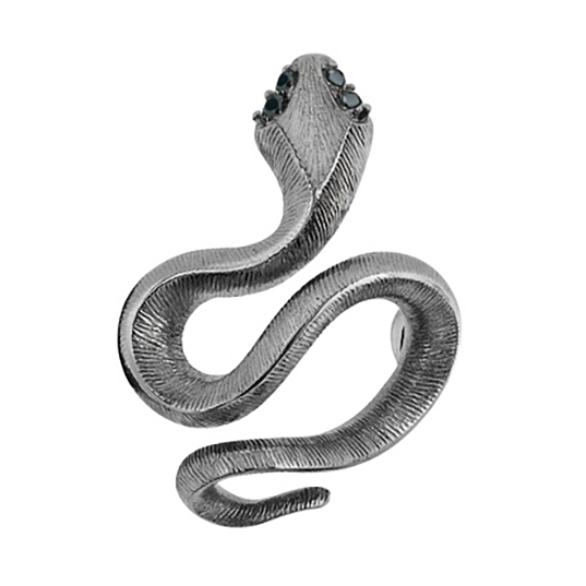 Mestergull Snakes Sweet Spot i 18 K hvitt gull sort rhodinert med 4 sorte diamanter totalt 0,04 ct. TwVs LYNGGAARD Sweet Spot Charm