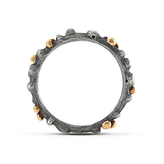 Mestergull Nature ring i oksidert sølv med detaljer i 18 K Gult gull og 5 diamanter totalt 0,04 ct. TwVs LYNGGAARD Nature Ring