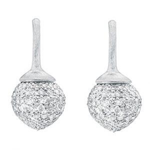 Mestergull Dew Drop ørepynt i 18 K Hvitt gull pavé med 230 diamanter totalt 1,42 ct. TwVs LYNGGAARD Dew Drops Ørepynt
