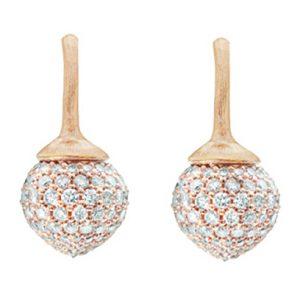Mestergull Dew Drop ørepynt i 18 K Rosé gull pavé med 230 diamanter totalt 1,42 ct. TwVs LYNGGAARD Dew Drops Ørepynt