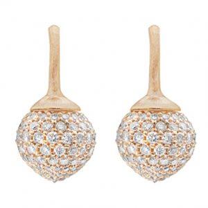 Mestergull Dew Drop ørepynt store i 18 K Rosé gull pavé med 230 diamanter totalt 2,74 ct. TwVs LYNGGAARD Dew Drops Ørepynt