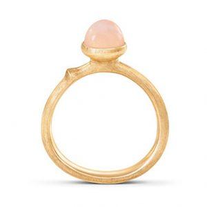 Mestergull Ring Lotus str. 0 i 18 K Gult gull med blush månesten LYNGGAARD Lotus Ring