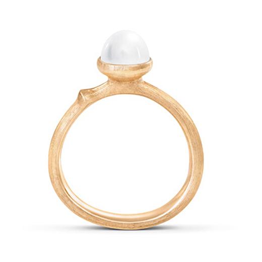 Mestergull Ring Lotus str. 0 i 18 K Gult gull med ferskvannsperle LYNGGAARD Lotus Ring