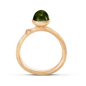 Mestergull Ring Lotus str. 0 i 18 K Gult gull med grønn turmalin LYNGGAARD Lotus Ring