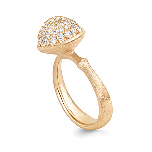 Mestergull Ring Lotus stor i 18 K Gult gull pavé med 76 diamanter totalt 0,66 ct TwVs LYNGGAARD Lotus Ring