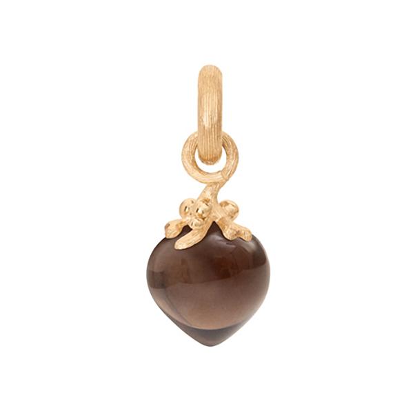 Mestergull Charm filigran Sweet Drops i 18 K Gult gull med røkkvarts LYNGGAARD Sweet Drops Charm