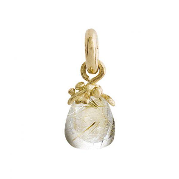 Mestergull Charm fiigran Sweet Drops i 18 K Gult gull med rutilkvarts LYNGGAARD Sweet Drops Charm
