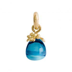 Mestergull Charm fiigran Sweet Drops i 18 K Gult gull med London blå topas LYNGGAARD Sweet Drops Charm