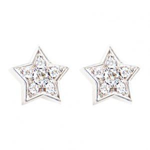 Mestergull Collier Heart i 18 K Hvitt gull med 16 diamanter totalt 0,16 ct. TwVs LYNGGAARD Shooting Stars Ørepynt