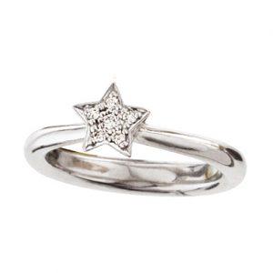 Mestergull Ring Stars i 18 K Hvitt gull med 6 diamanter totalt 0,09 ct TwVs blank overflate LYNGGAARD Shooting Stars Ring