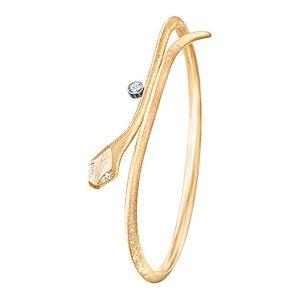 Mestergull Snakes armring mini i 18 kt. gult gull med 5 diamanter totalt 0,06 ct. TwVs LYNGGAARD Snakes Armring
