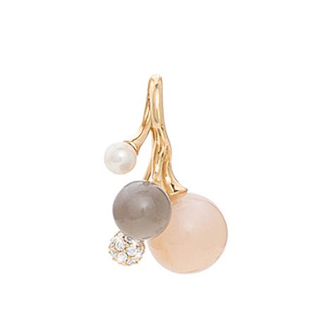 Mestergull Anheng Blooming klase i 18 K Gult gull med blush og grå månesten, hvit perle og 26 diamanter totalt 0,10 ct. TwVs LYNGGAARD Blooming Anheng