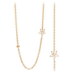 Mestergull Shooting Stars anker collier i 18 K Gult gull med 57 diamanter totalt 0,67 ct. TwVs 80 cm LYNGGAARD Shooting Stars Kjede