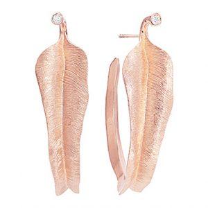 Mestergull Leaves store øreringer i 18 K Rosé gull med 2 diamanter totalt 0,04 c. Twvs LYNGGAARD Leaves Ørepynt