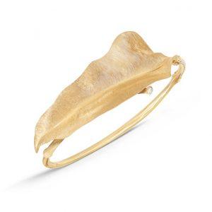 Mestergull Leaves armring i 18 K Gult gull med 41 diamanter totalt 0,28 ct. TwVs (15, 16, 17, 18 cm) LYNGGAARD Leaves Armring