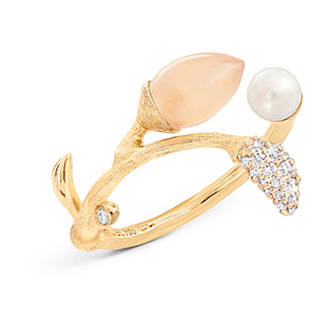 Mestergull Blooming ring i 18 K Gult gull Pavé blad med 25 diamanter totalt 0,10 ct. TwVs Blush månesten og perskvannsperle LYNGGAARD Blooming Ring