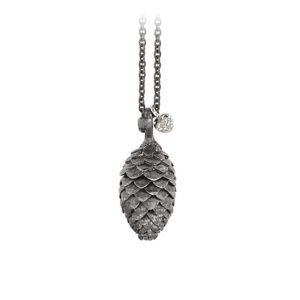 Mestergull Forest anheng konglei sølv inkludert et lite hjerte i 18 K Hvitt gull med 3 diamanter totalt 0,03 ct. TwVs 80 cm kjede LYNGGAARD Silver Forest Anheng
