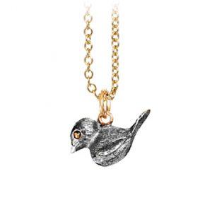 Mestergull Anheng Forest fugl i sølv med øyne og øsken i 18 K Gult gull LYNGGAARD Silver Forest Anheng