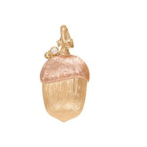 Mestergull Forest anheng stor eikenøtt i 18 K Gult og rosé gull med 1 diamant totalt 0,01 ct. TwVs LYNGGAARD Forest Anheng