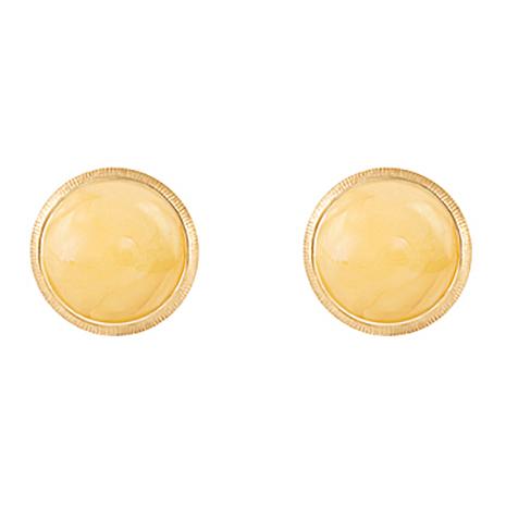 Mestergull Lotus 0 ørepynt i 18 kt. gult gull med rav 7 mm LYNGGAARD Lotus Ørepynt