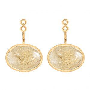 Mestergull Lotus vedheng par til ørepynt i 18 K Gult gull med rutilkvarts 13,x9mm LYNGGAARD Lotus Anheng