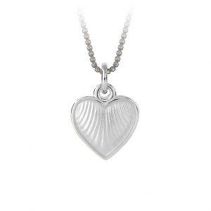 Mestergull Sølv hjerte anheng med hvit emalje PIA & PER Anheng