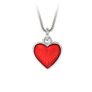 Mestergull Sølv hjerte anheng med rød emalje PIA & PER Anheng