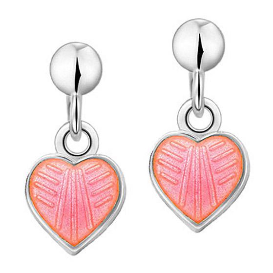 Mestergull Sølv ørepynt heng med hjerter i rosa emalje PIA & PER Ørepynt