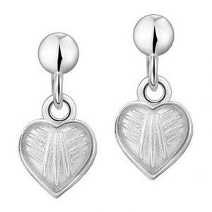 Mestergull Sølv ørepynt heng med hjerter i hvit emalje PIA & PER Ørepynt
