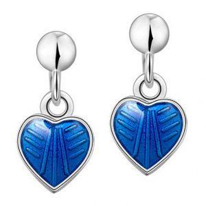 Mestergull Sølv ørepynt heng med hjerter i blå emalje PIA & PER Ørepynt