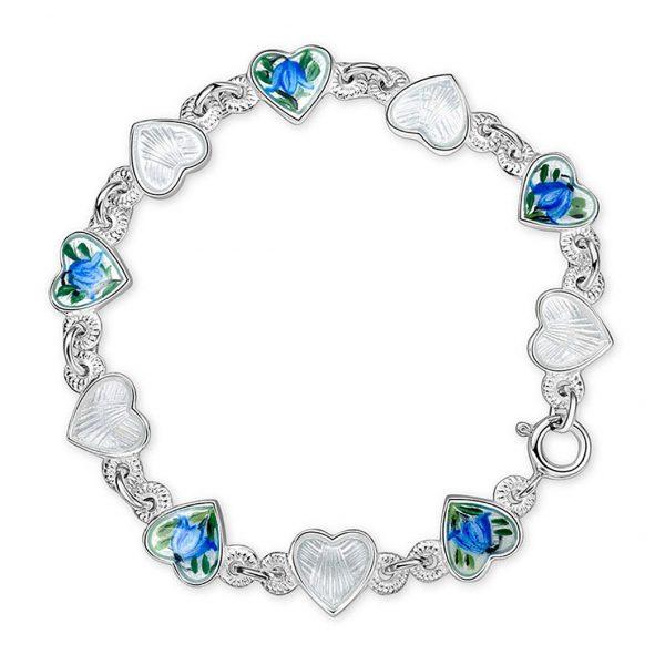 Mestergull Armbånd i sølv med emaljerte hjerter i hvit og blåklokke PIA & PER Armbånd