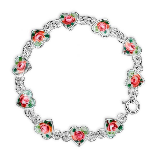 Mestergull Armbånd i sølv med emaljerte hjerter i roseblomst PIA & PER Armbånd