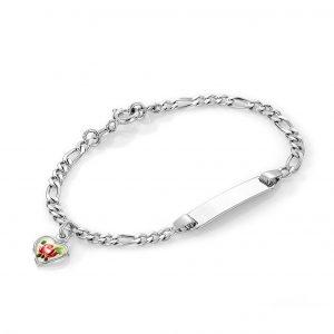 Mestergull Sølv og emalje armbånd med plate for gravering og charms med hjerte i roseblomst PIA & PER Armbånd