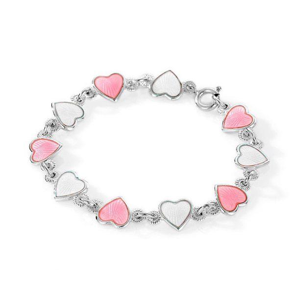 Mestergull Barnearmbånd i sølv og hjerter i hvit og rosa emalje PIA & PER Armbånd