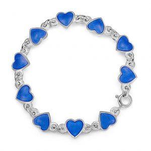 Mestergull Barnearmbånd i sølv og hjerter i blå emalje PIA & PER Armbånd