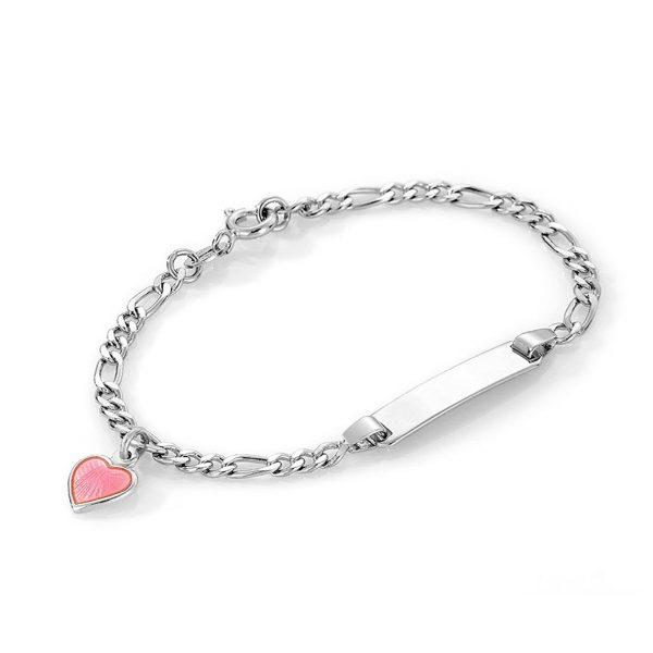Mestergull Sølv og emalje armbånd med plate for gravering og charms med rosa hjerte PIA & PER Armbånd