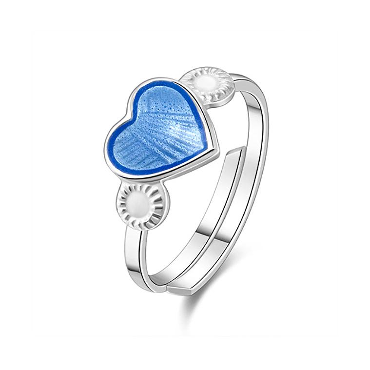Mestergull Regulerbar barnering i sølv med hjerte i lys blå emalje PIA & PER Ring